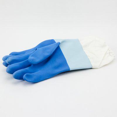Guantes latex azúl puño largo Guans latex blaus puny llarg Gants bleus latex longs Blue long gloves
