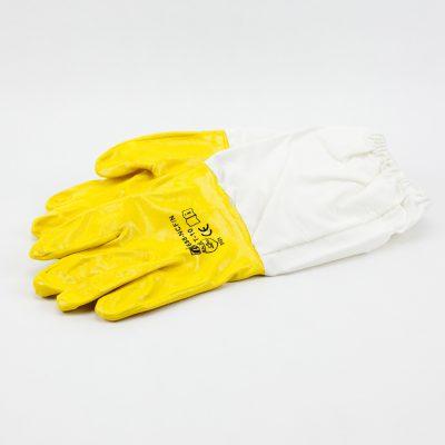 Guantes nitrilo mostaza largos Gants moutarde nitrile longues Mustard long gloves nitrile