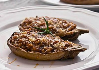 Eggplant and honey risotto